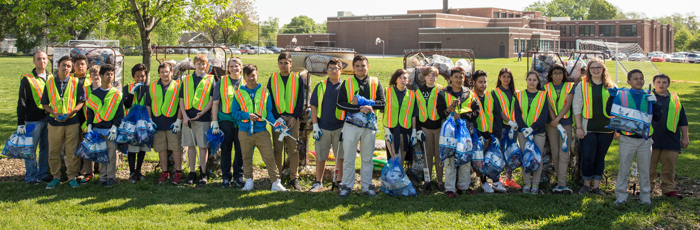 Hiatt Middle School Students Cleaning Up Staff
