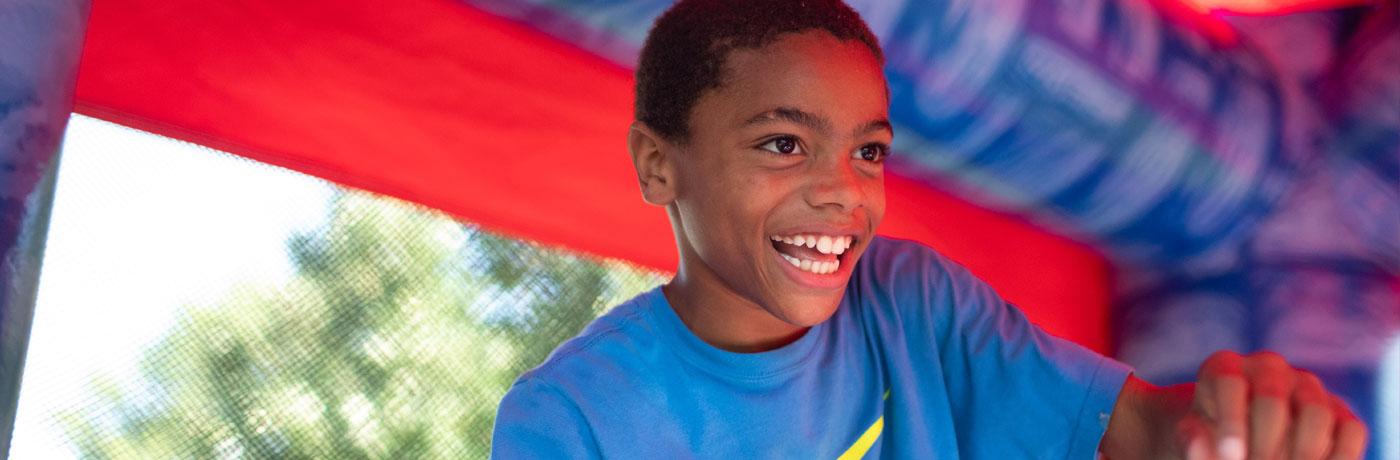 Hiatt student in bouncy house
